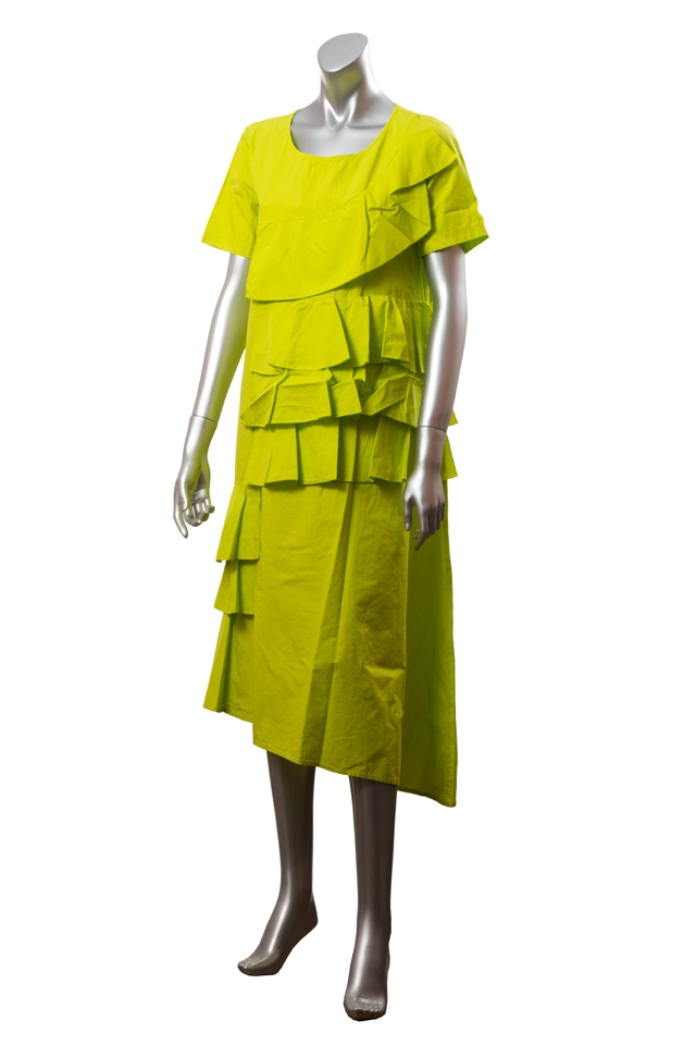 Rochie din bumbac cu volanase Wendy Trendy, verde lime